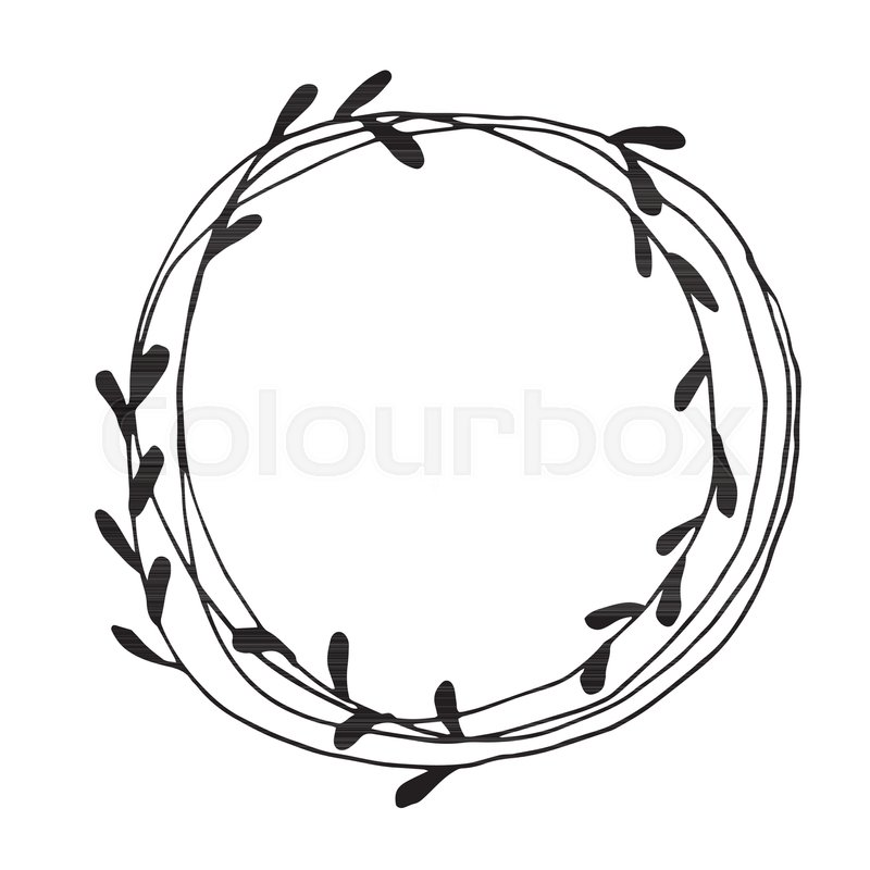 Christmas Wreath Doodle Hand Drawn