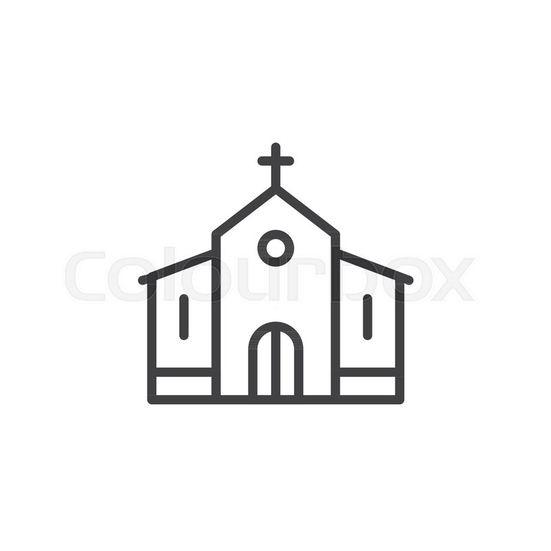 Church Building Line Icon Outline Vector Sign Linear Style