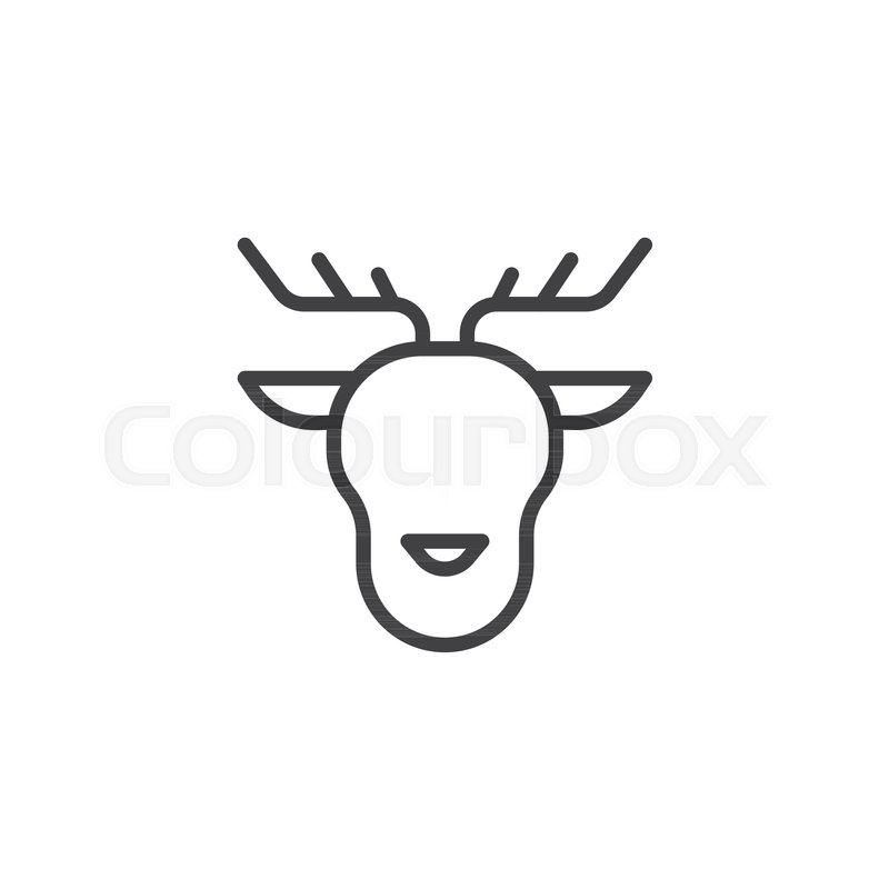 merry christmas reindeer head line icon outline vector sign linear