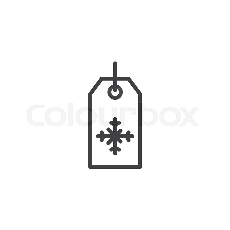 Price Tag Season Winter Sale Label With Snowflake Line Icon Outline