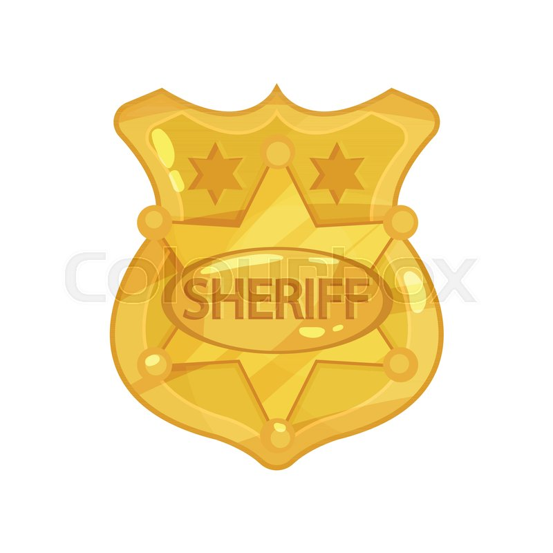 Golden Cop S Badge With Stars And Engraved Word Sheriff Brass