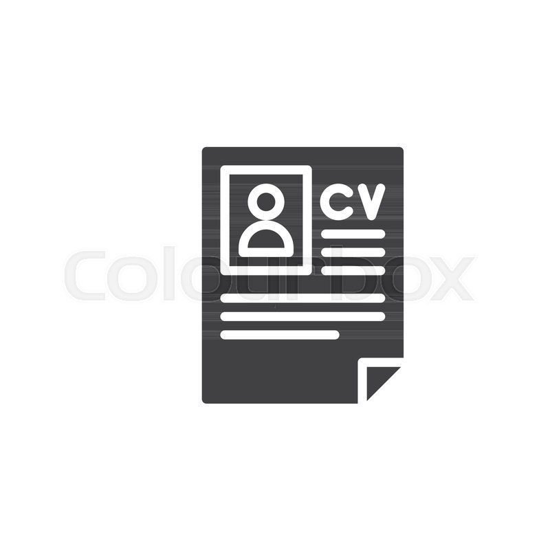 cv resume icon vector filled flat sign solid pictogram isolated on white symbol logo illustration vector