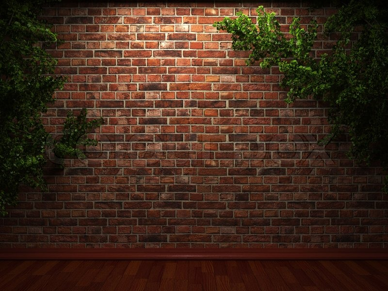 Illuminated brick wall and ivy made in 3d graphics stock for 3d brick wallpaper for walls