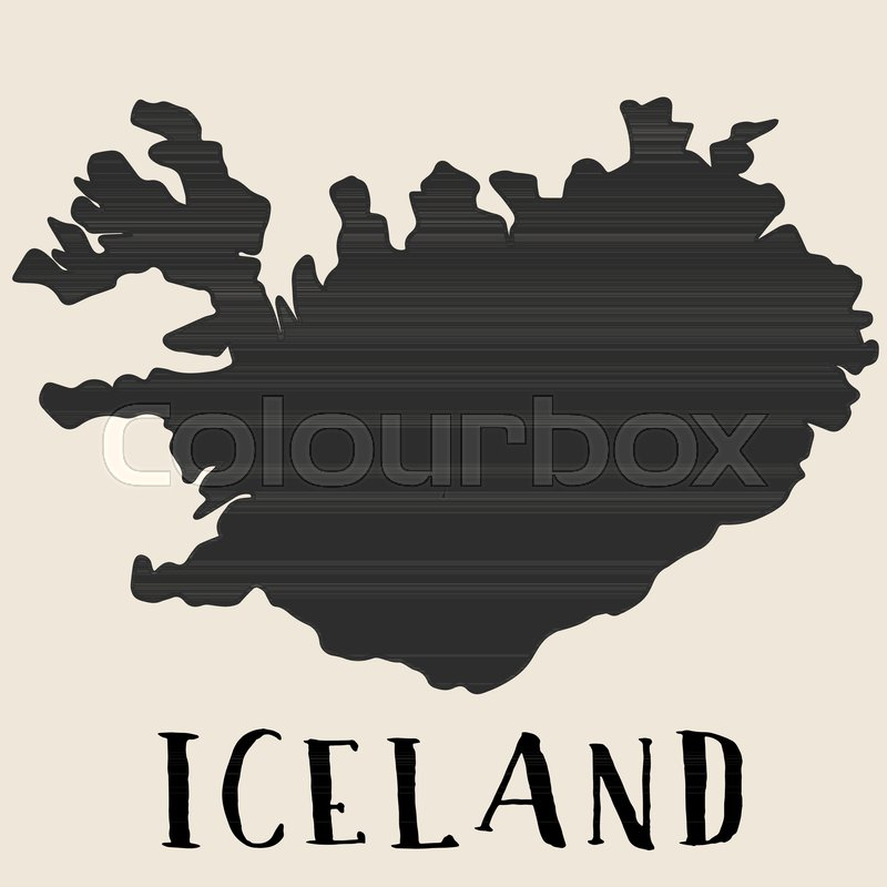 Doodle Freehand map sketch of Iceland ... | Stock vector ...
