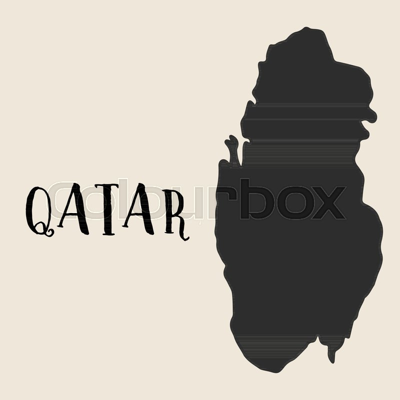 Doodle Freehand map sketch of Qatar ... | Stock vector | Colourbox