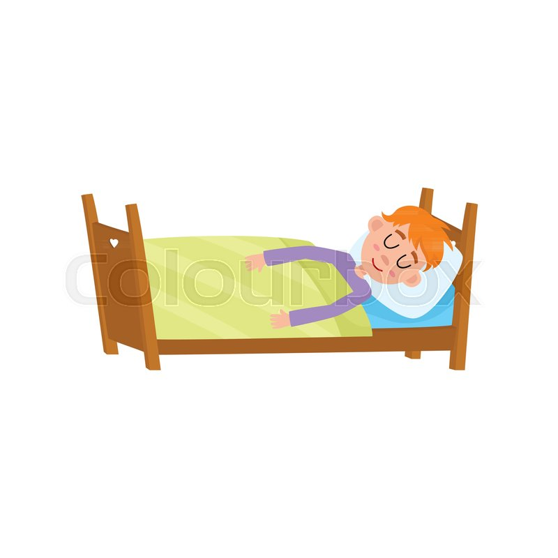 Funny Little Boy Sleeping Tight Asleep In His Bed