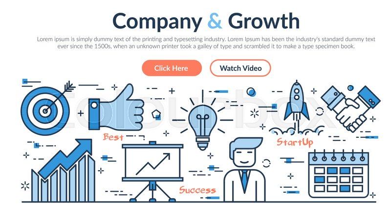 vector linear web site header template of company and growth