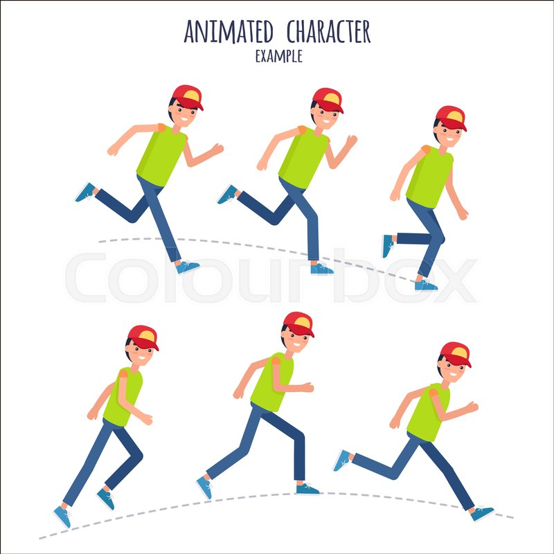 Animated character example with male person signs in motion on white ...