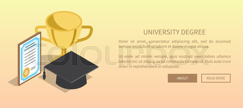 university degree template banner with golden trophy paper award