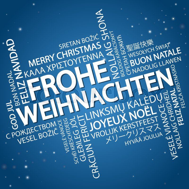 word cloud with text merry christmas in different languages in the middle one oversized and bold written in german stock vector colourbox
