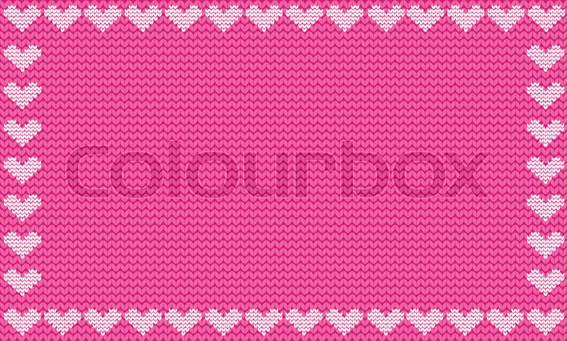Pink Fabric Knitted Background Framed With Knit Hearts Vector