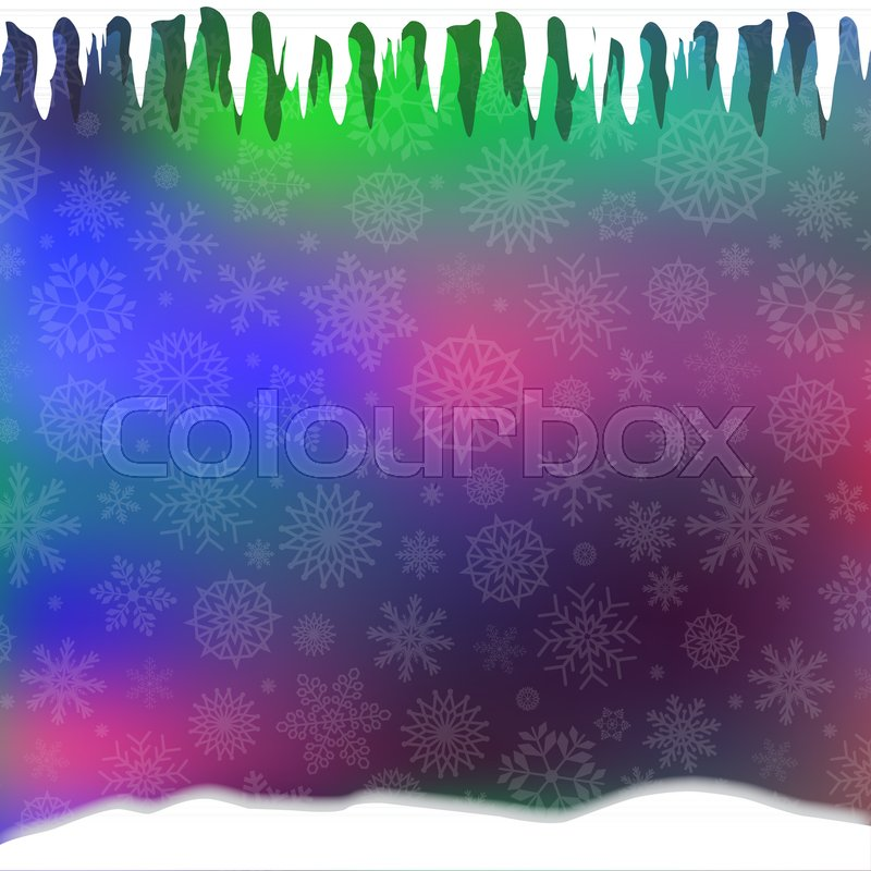 winter magical festive template with silver fallen snowflakes