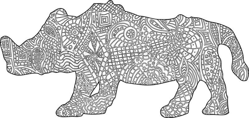 Rhino Coloring book illustration | Stock vector | Colourbox