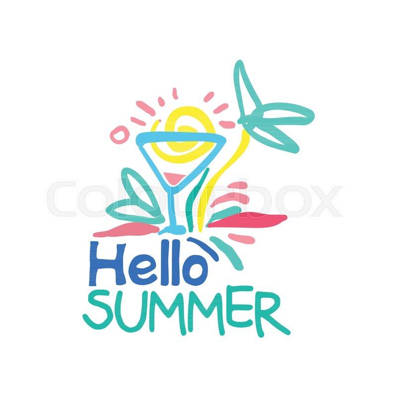 hello summer logo template label for summer holiday restaurant