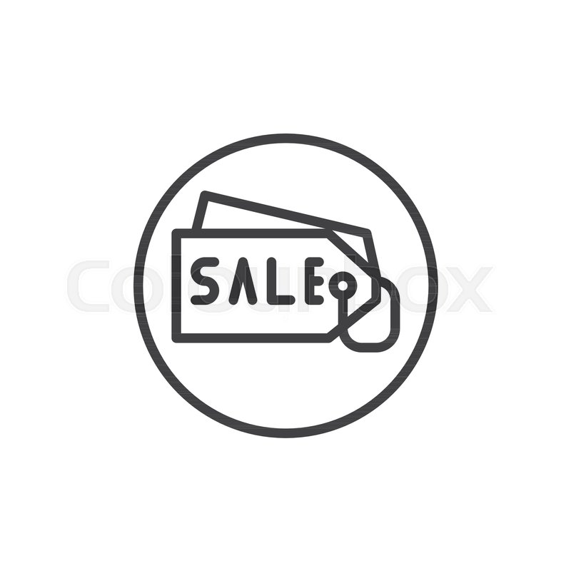 Price Tag Line Icon Outline Vector Sign Linear Style Pictogram