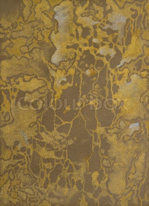 Texture of a cement wall covered metallic paint with gold strokes