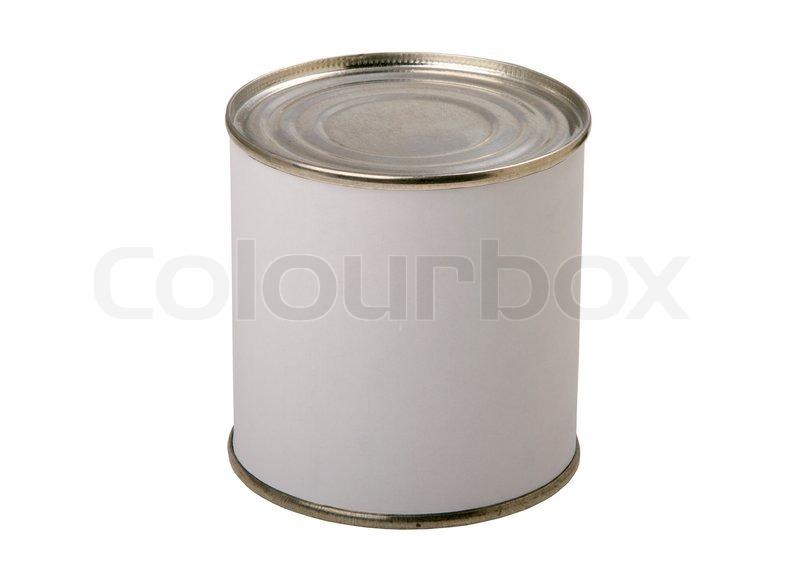 lebensmittel blechdose mit leeren wei en etikett auf einem wei en hintergrund stockfoto. Black Bedroom Furniture Sets. Home Design Ideas