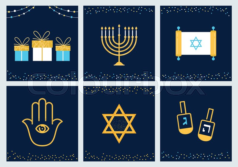 Hanukkah greeting cards with jewish symbols vector design stock hanukkah greeting cards with jewish symbols vector design vector m4hsunfo