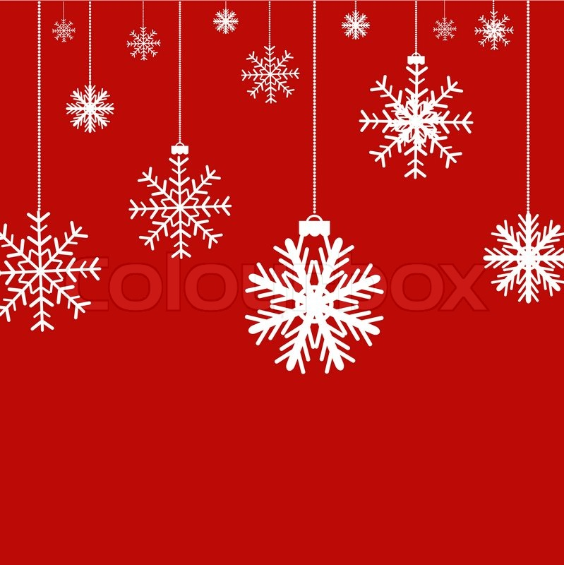 Christmas Red Background With Snowflakes, Vector Illustration ...