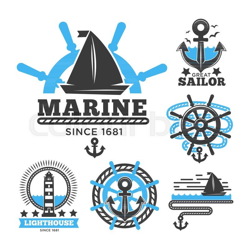 marine and nautical logo templates or stock vector colourbox