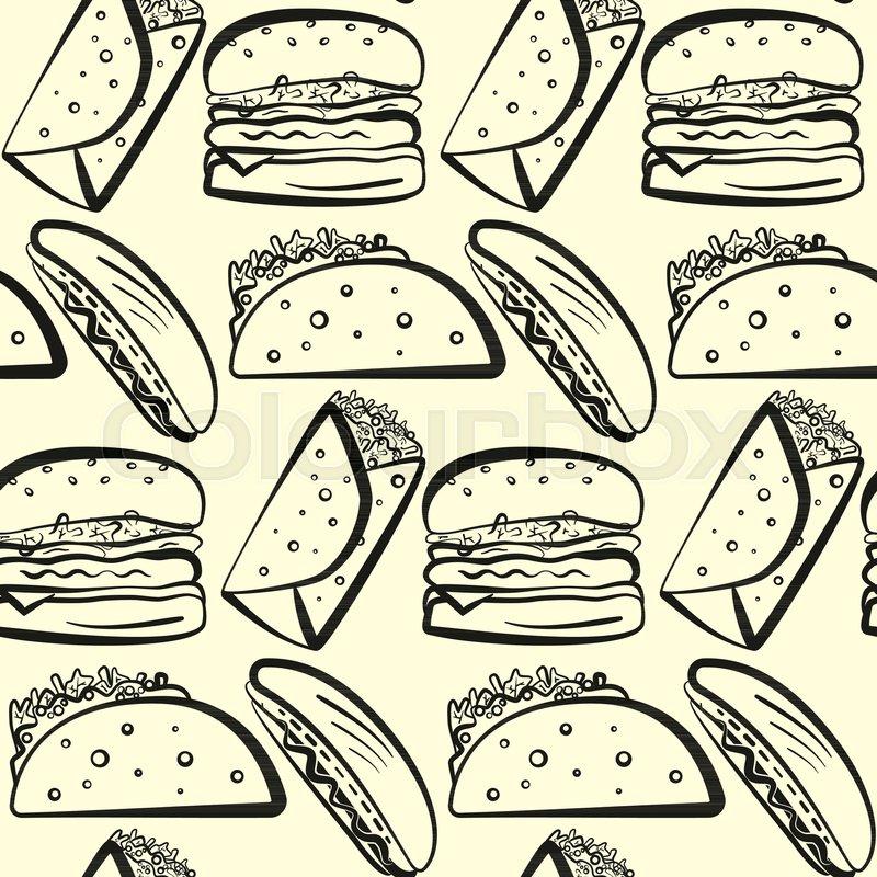 Black Outline Fast Food Symbols Set Cute Cartoon Linear Fastfood