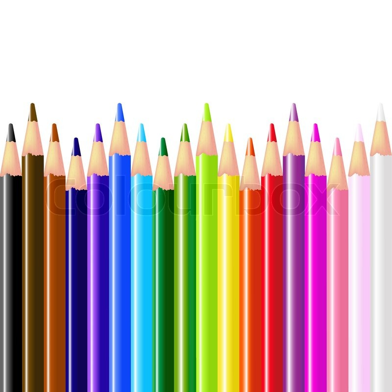 Color Pencils Isolated On White Background Vector Illustration