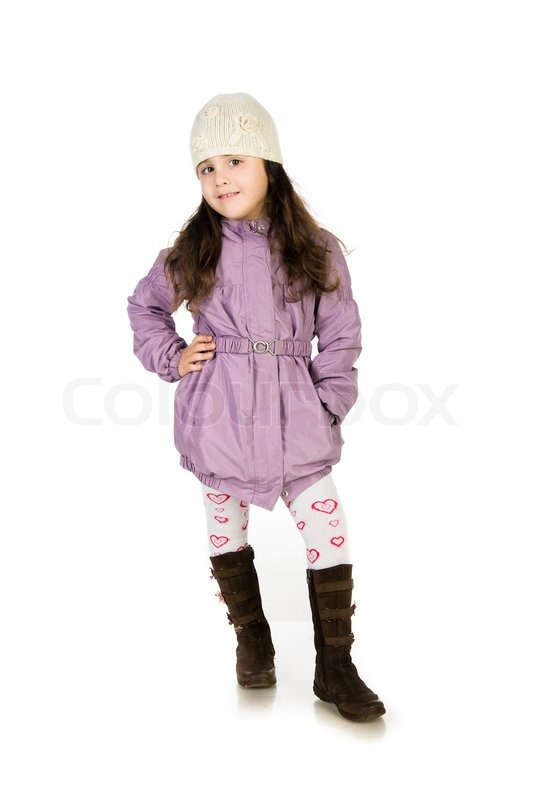 Stock image of 'Little girl in a coat ower  white background'