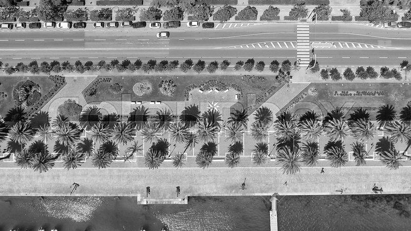 Aerial overhead view of city promenade, stock photo