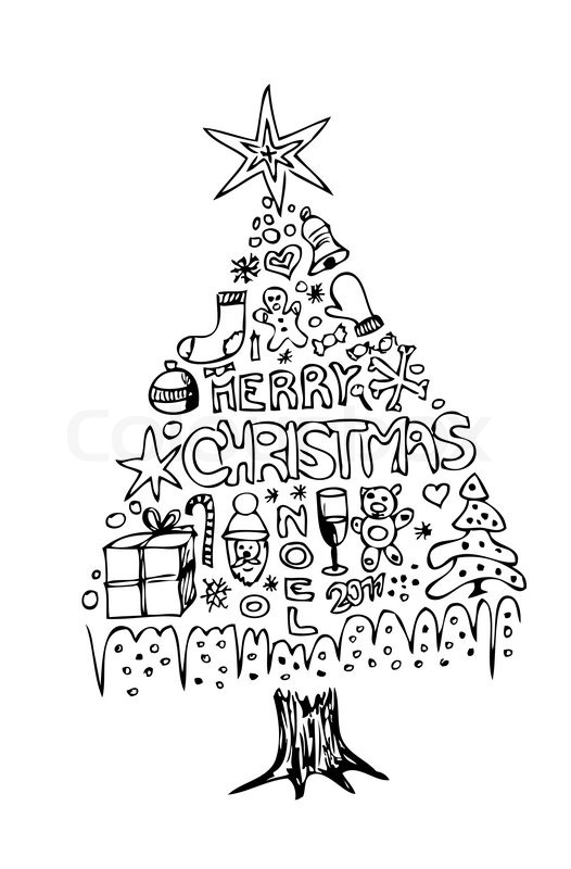 Christmas Tree Line Drawing Images : Hand drawn christmas tree isolated on the white background