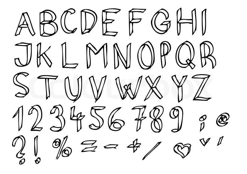 easy alphabet isolated on the white background stock