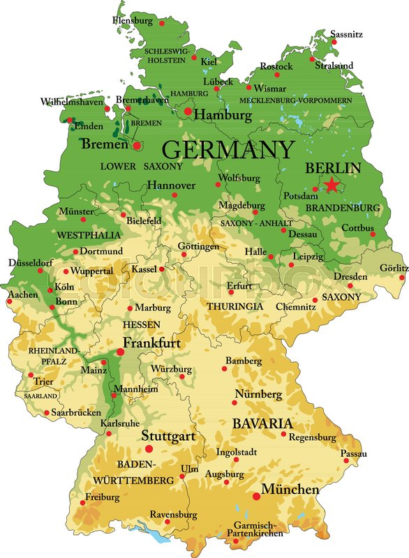 Map Of Germany Gottingen.Highly Detailed Physical Map Of Stock Vector Colourbox