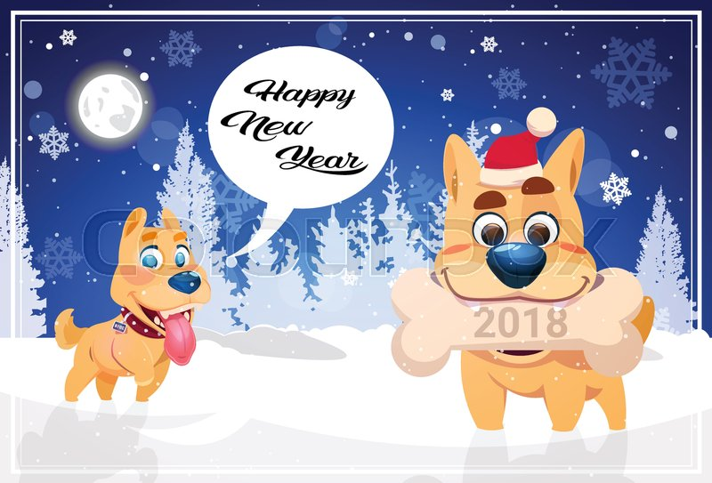 Happy Winter Holidays Banner Background With Cute Dogs Over Night