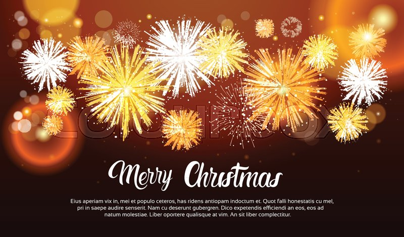 christmas fireworks bursting and sparkling against night background happy new year banner vector illustration stock vector colourbox