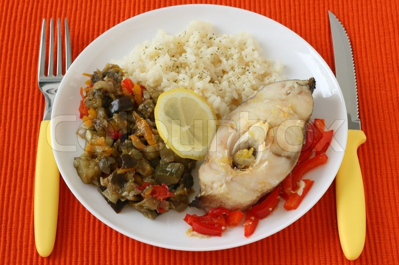 Boiled fish with rice and vegetables stock photo colourbox for Fish and rice diet