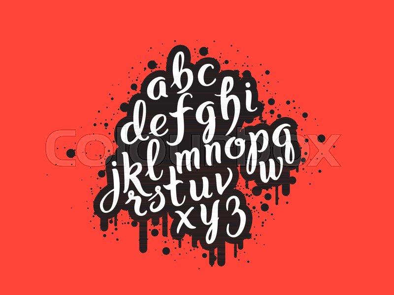 Handdrawn graffiti alphabet brush pen letters handwritten
