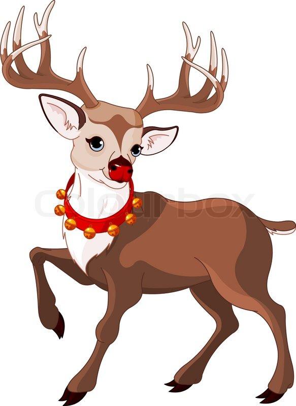Illustration of beautiful cartoon reindeer Rudolf Stock Vector