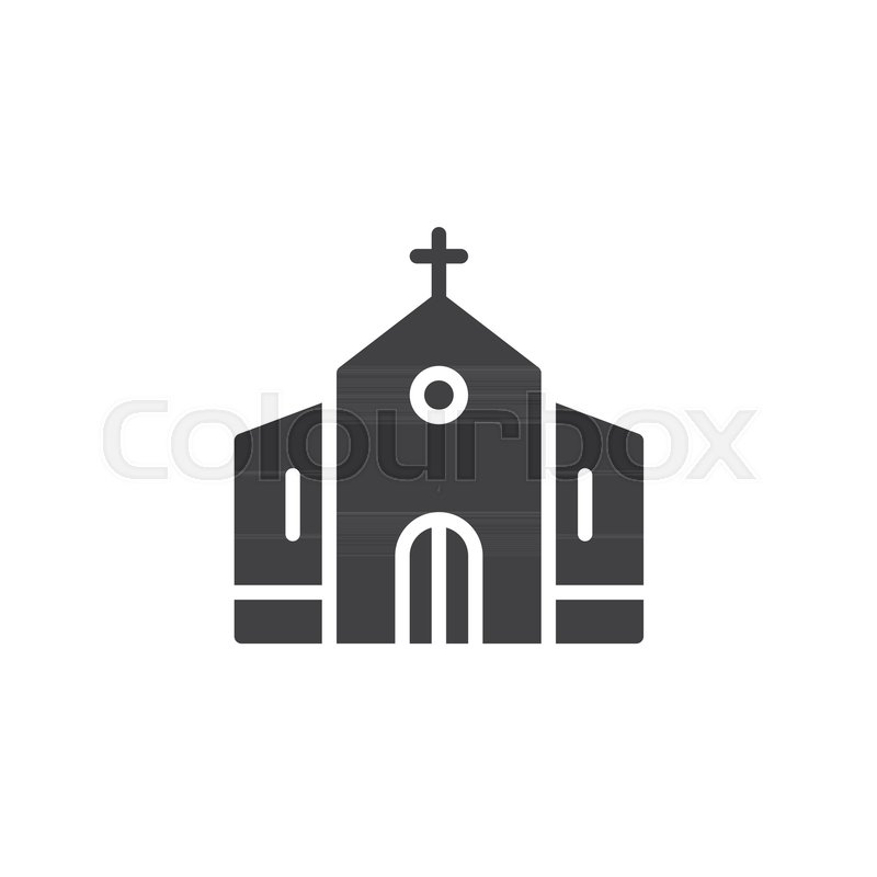 Church Building Icon Vector Filled Flat Sign Solid Pictogram
