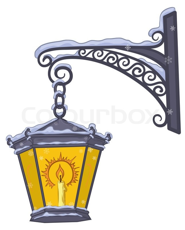 Vintage Street Lamp Glowing In The Snow Hanging On A