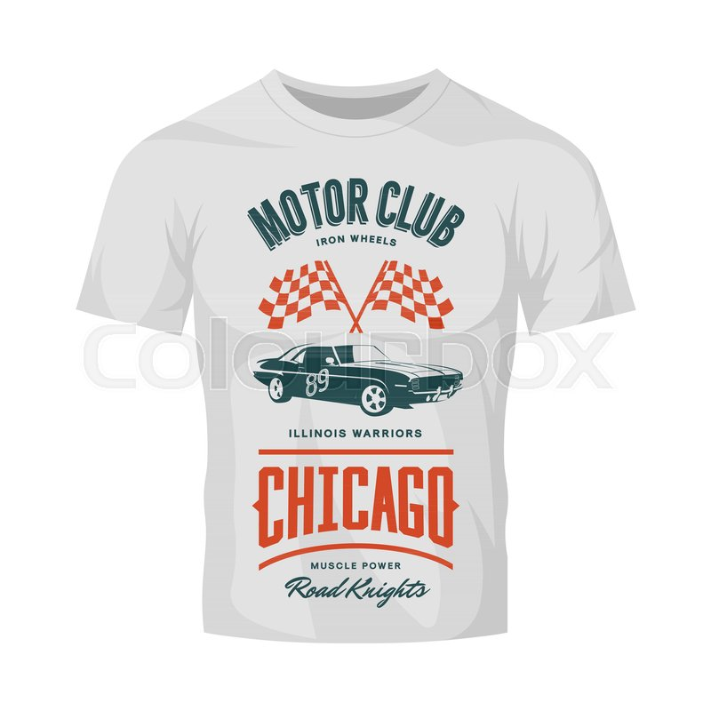vintage muscle vehicle vector logo isolated on white t shirt mock up