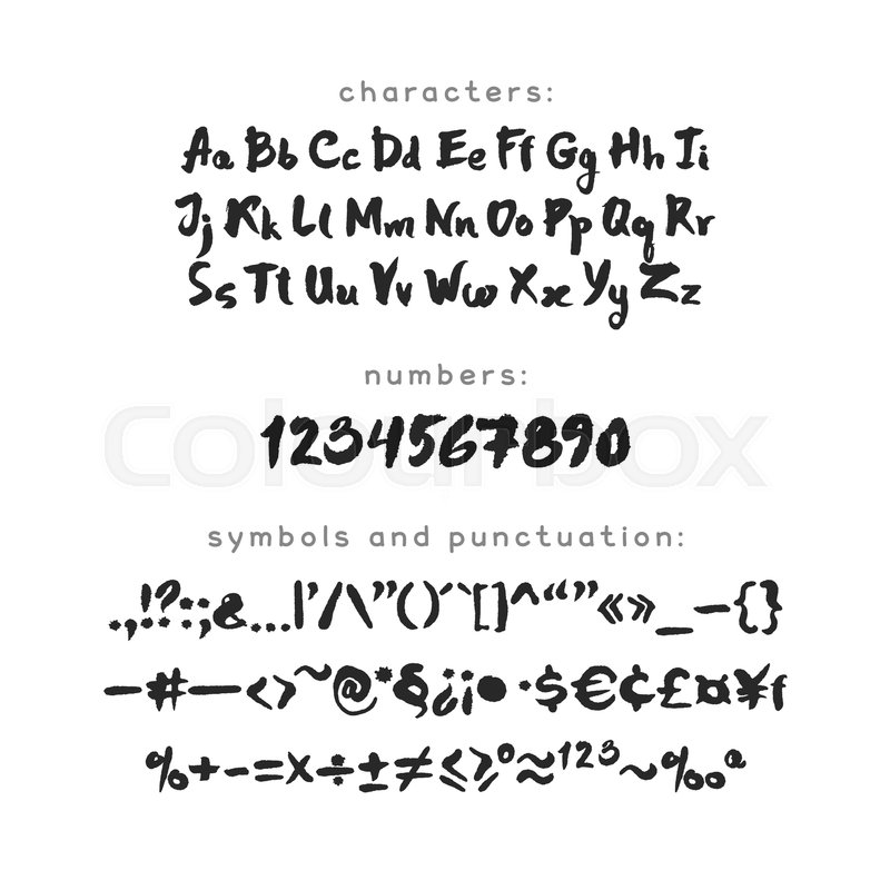 A Z Uppercase And Lowercase Letters Numbers Punctuation Marks Currency Math Signs Black On White Background Clipping Paths Included Vector