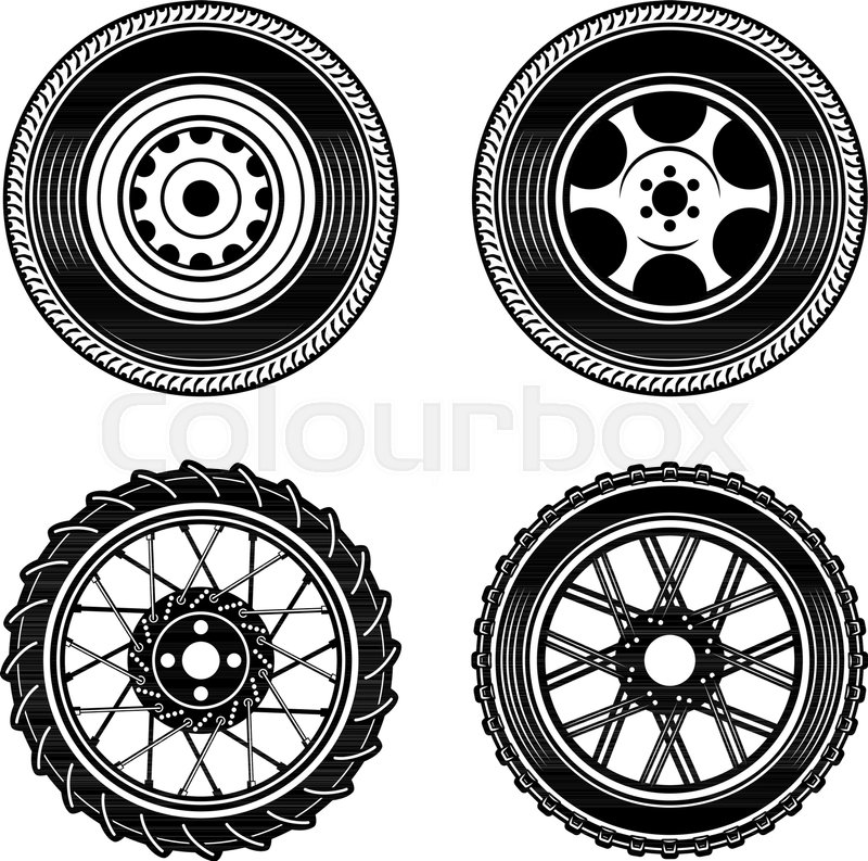 Set Of Car And Motorcycle Wheels Stock Vector Colourbox