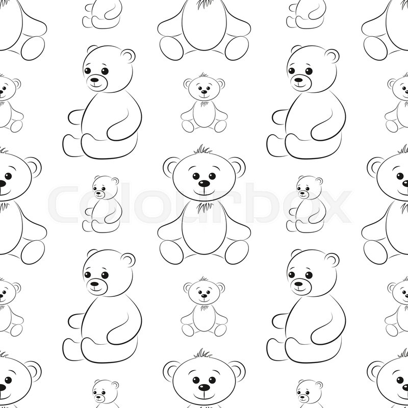 Cartoon Teddy Bears, Seamless Pattern,     | Stock vector