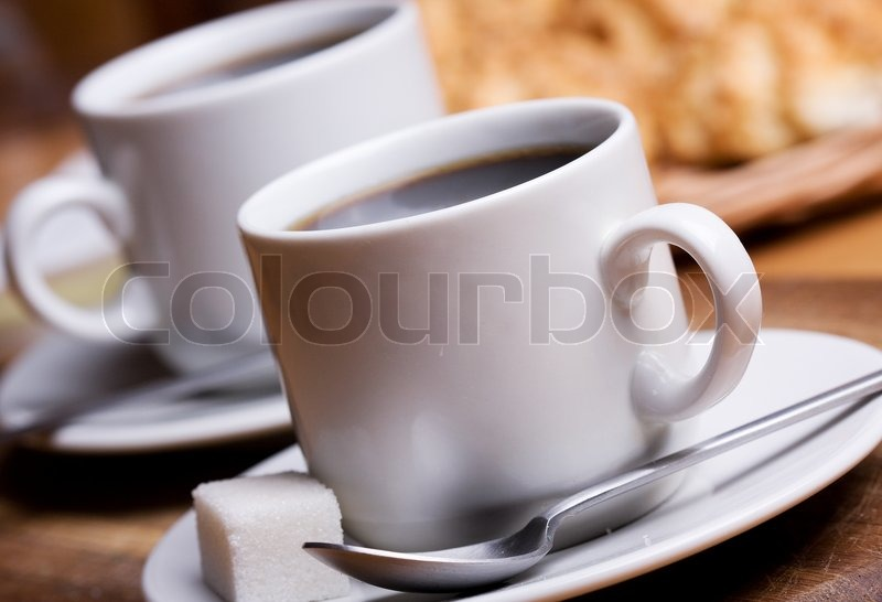 Two cups with black coffee, stock photo
