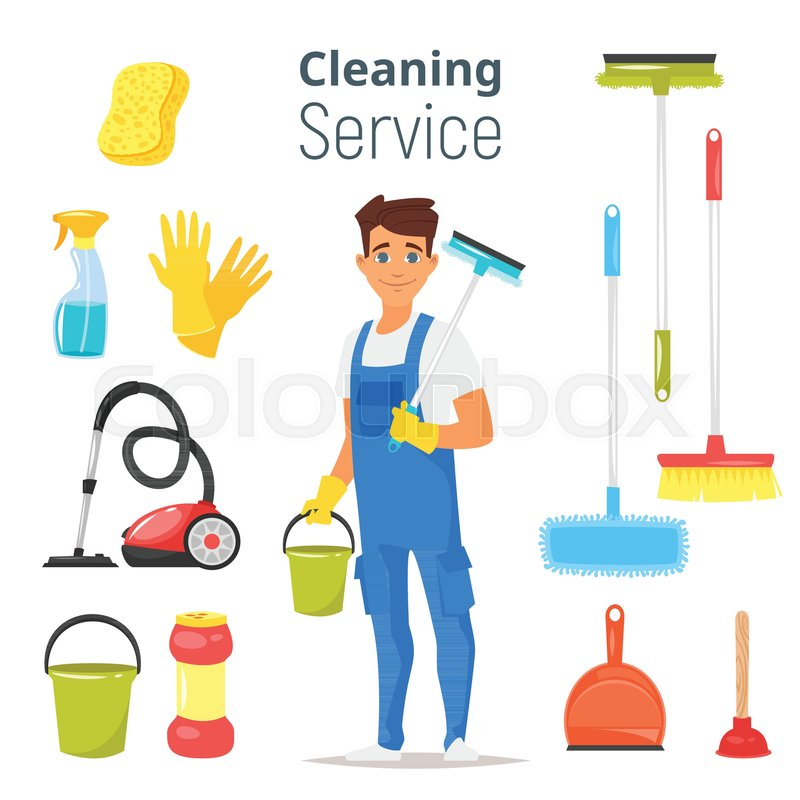 Vector Cartoon Style Illustration Of Cleaning Service Man