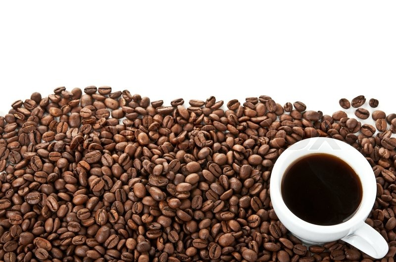 Coffee beans and cup isolated on a white background ...