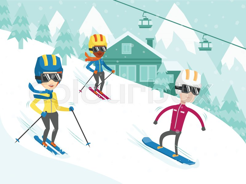 group of multicultural people have fun while skiing and snowboarding