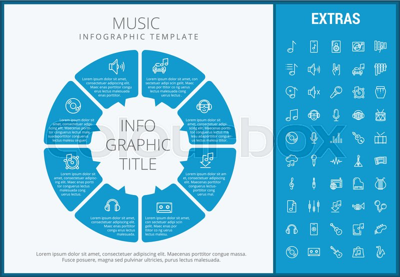 Music infographic template elements and icons infograph includes infograph includes customizable circular diagram line icon set with musical instruments music notes microphone smartphone with mobile app etc vector ccuart Gallery