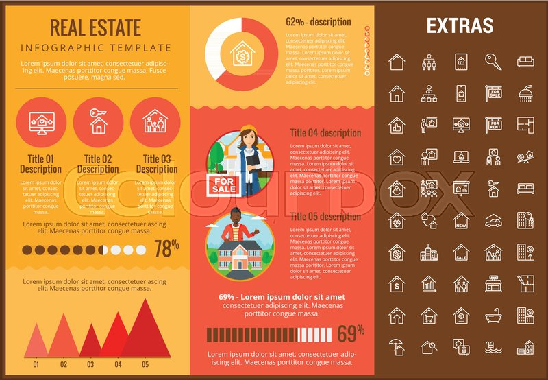 real estate infographic template elements and icons infograph