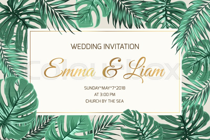 wedding marriage event invitation card template exotic tropical