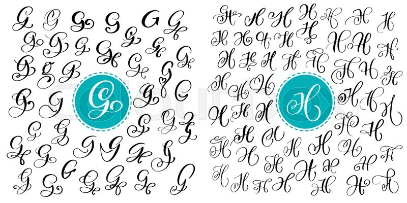 Set Letter G And H Hand Drawn Vector Flourish Calligraphy Script Font Isolated Letters Written With Ink Handwritten Brush Style